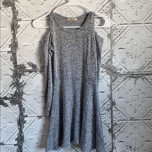 Molli and Mia gray cold shoulder dress